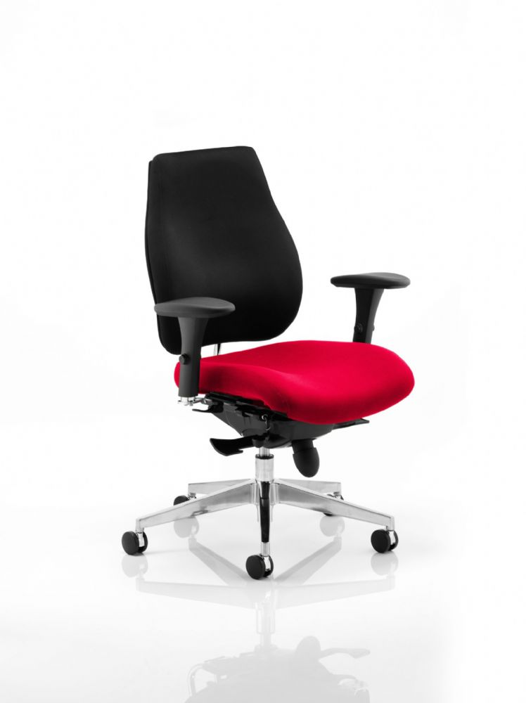 Chiro Plus Posture Chair Arms Fully Upholstered Standard Black Fabric Back Various Seat Colours